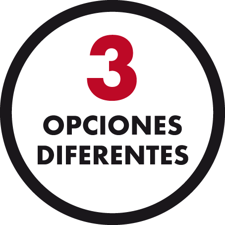 tres opciones diferentes